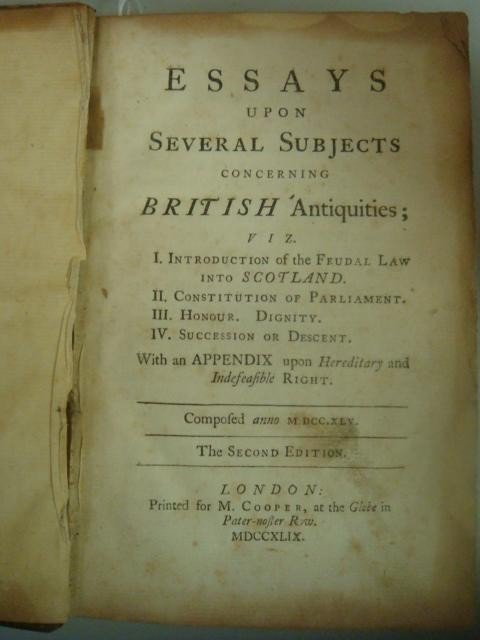 463: 1749 Antique Book, ESSAYS upon Several Subjects
