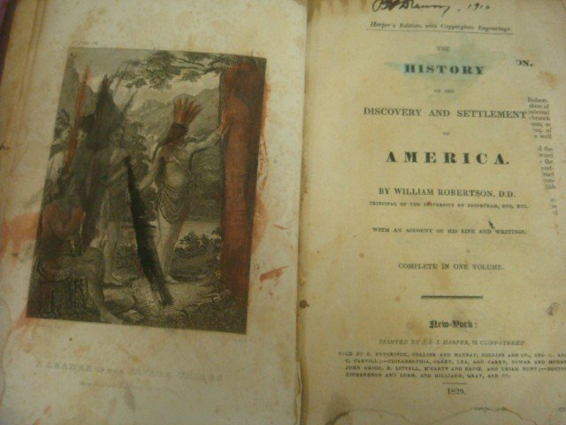 466: 1829 Antique Book, HISTORY OF AMERICA, Robertson: