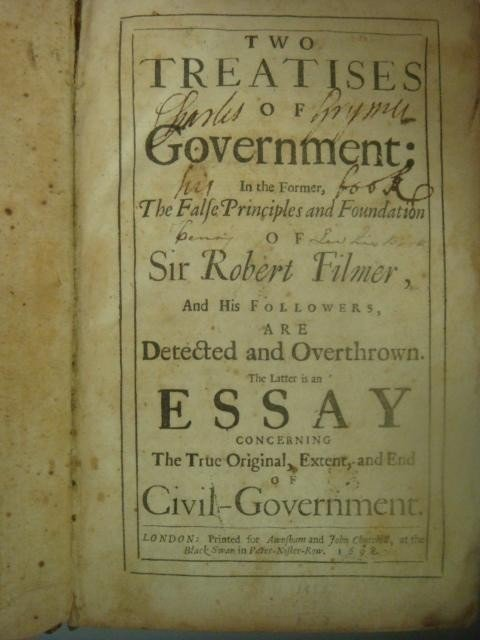 467: 1698 Antique Book, Two Treatises of Government: