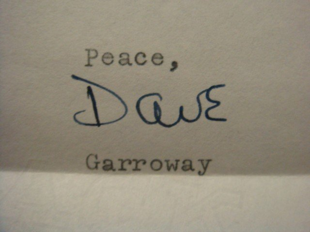 "471: Personal Letter Signed, DAVE GARROWAY, ""Today"""