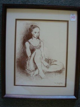 "MOSES SOYER ""Ballete Dancer"" Lithograph:"