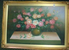 Floral Still Life Oil On Canvas Signed Kenneth: