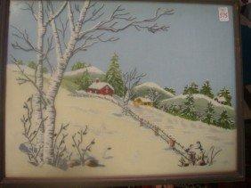 Hand Stitched Winter Landscape Scene: