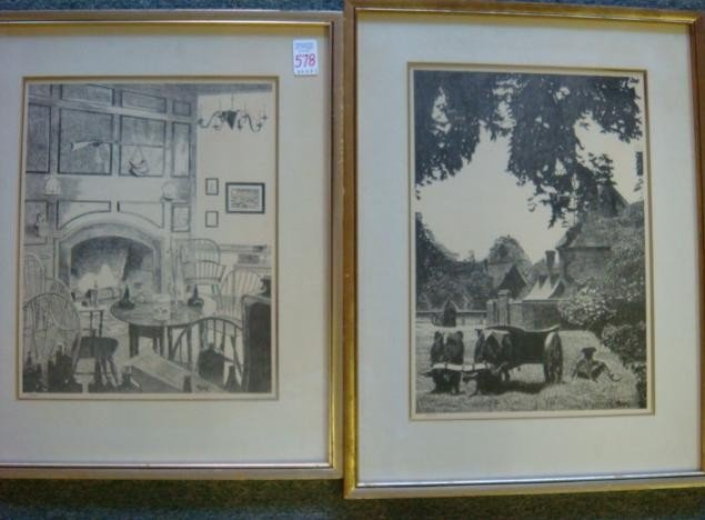 578: Two MUIR Williamsburg Offset Lithograph Prints:
