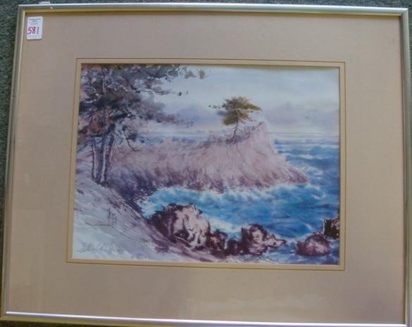 581: Waterscape Print Signed SEH-CHIN HSU:
