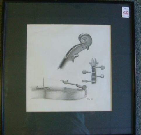 582: Signed SAN '87 Study of Violin Pencil Sketch: