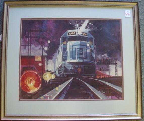 583: Framed Train Lithograph: