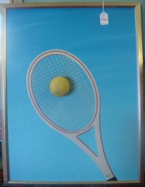 """586: JAMES WELCH Mixed Media """"Stew's Racquet"""":"""