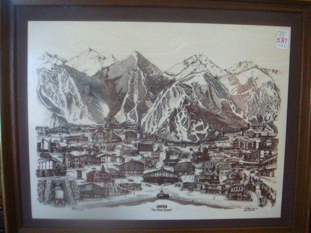587: D. BIVENS Marble Engraving of Aspen, CO: