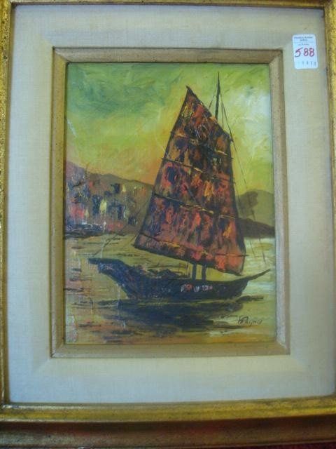 588: Signed PAYNE Oil on Board Chinese Junk: