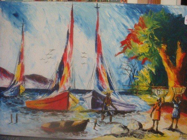 589: Oil on Canvas Haiti Signed PHITO Seascape: