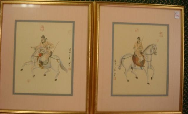 595: Two Signed Chinese Warrior Watercolors: