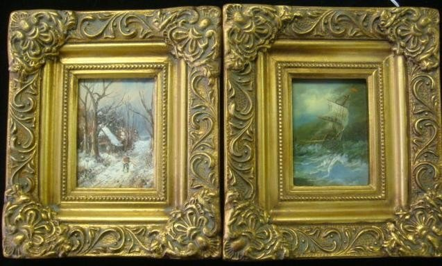 596: Two Oil on Board Sea and Land Scapes: