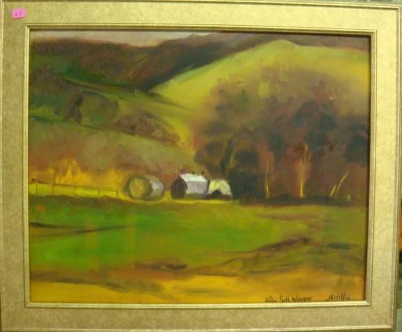597: Signed J KITCHIN Oil Landscape on Canvas: