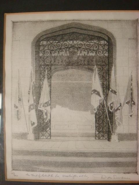 598: Signed DON SWANN Robert E Lee Tomb Engraving: