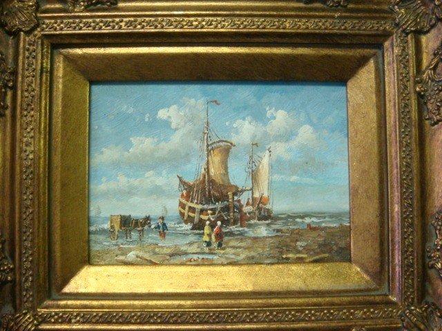 600: Handpainted Oil on Board Seascape: