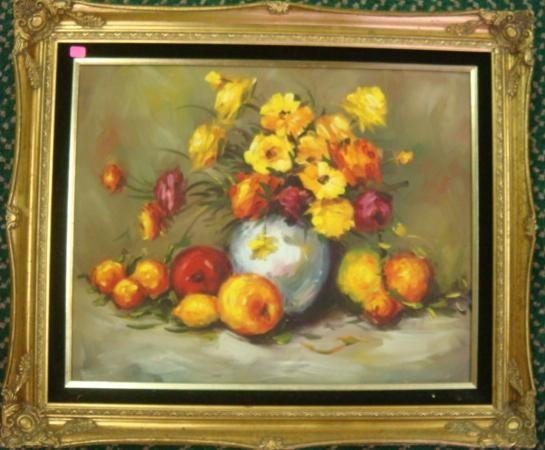 601: Signed T. LEWART Floral and Fruit Oil on Canvas:
