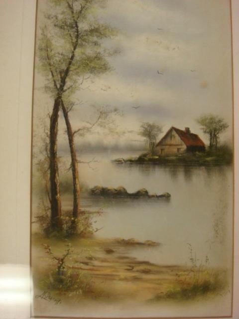 616: Signed M DeGRAFF Pastel Landscape on Paper: