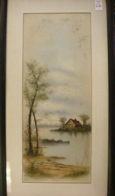 616: Signed M DeGRAFF Pastel Landscape on Paper: - 2
