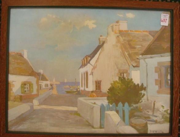 637: RAYMOND WINTZ Sea Side Village Print: