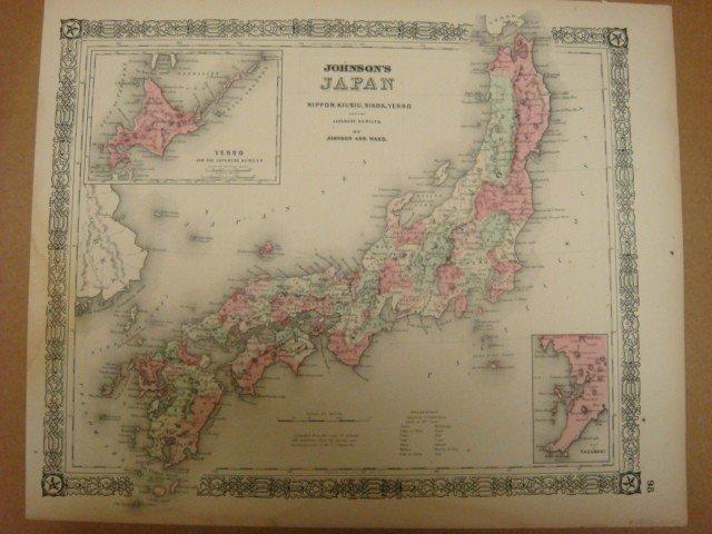 "455: Antique Map JOHNSON'S JAPAN, CA 1870, 14"" X 17"":"