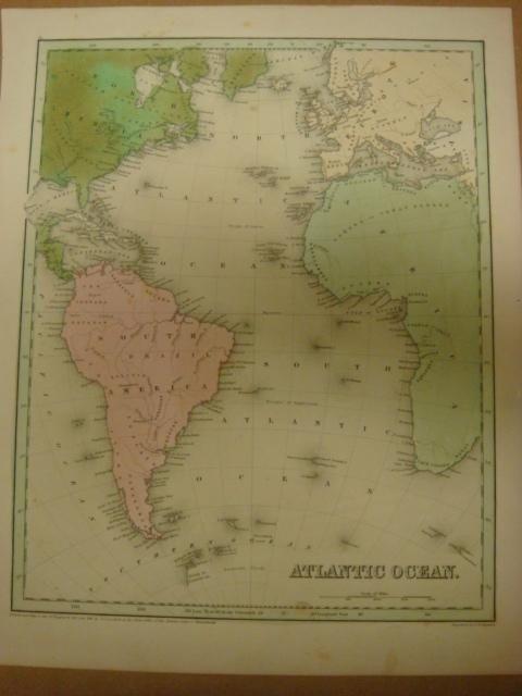 456: Antique Map, ATLANTIC OCEAN, CA 1845: