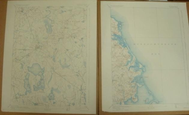 456A: Two Maps CA 1932 Massachusetts, Middleboro & Duxb