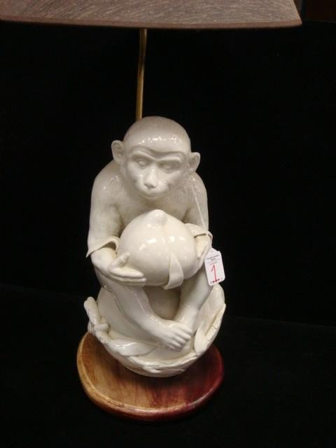 1: White Monkey Contemplating Pomegranate Table Lamp: