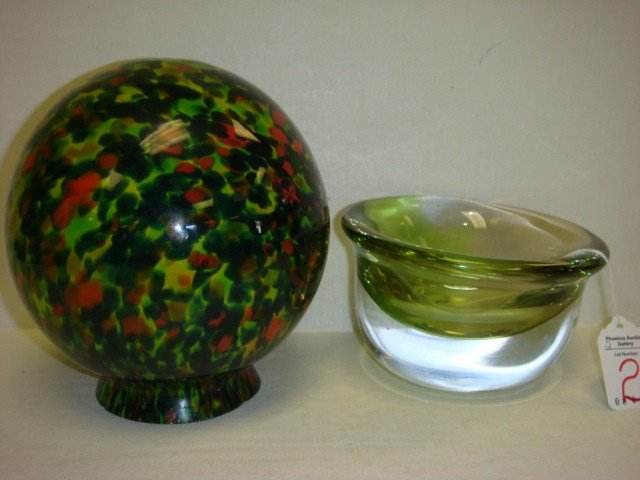 2: Signed VELT Art Glass Bowl and Spatter Glass Globe: