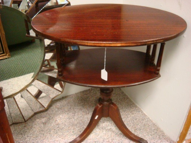 3: Two Tiered Mahogany Side Table: