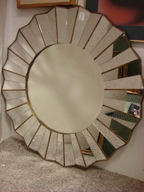 8: Serrated Edge Round Wall Mirror: