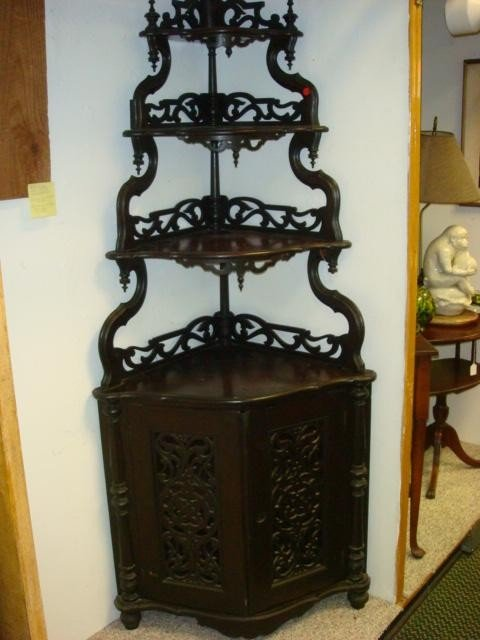 12: Victorian 2 Door 4 Tier Mahogany Corner Shelf: