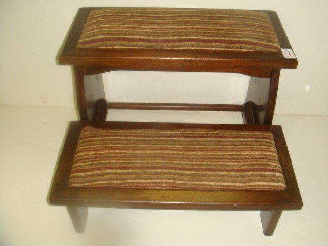 16: Mahogany Two Step Upholstered Bed Stool: