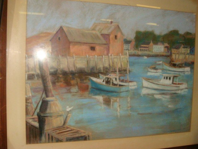 18: Signed W BRITTINGHAM Waterscape Pastel on Paper: