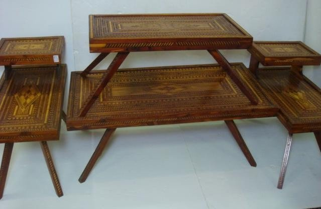 20: Four Pieces of Prison Art Carved Inlaid Furniture: