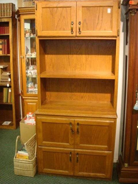 21: Two Drawer Double Door Set Back Cabinet: