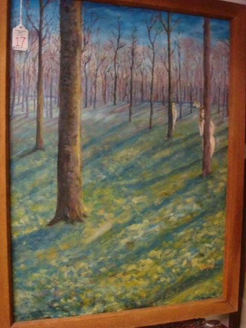 17: Signed RAILORD Nudes in Woods Oil on Canvas:
