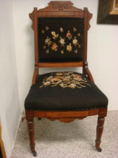 128: Walnut Eastlake Side Chair With Needlepoint Seat: