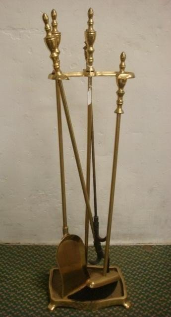12: Heavy Brass Fireplace Tool Set in Stand: