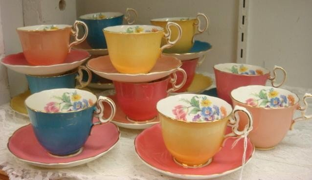 13: AYNSLEY Bone China Cups and Saucers: