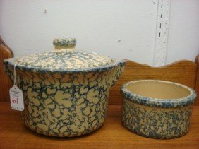RRP Co Spongeware Lidded Pot And Bowl: