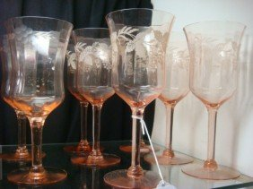 Eight Etched Pink Glass Stems: