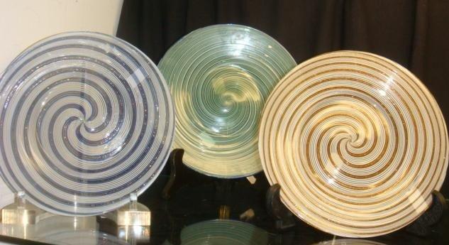 70: Three Swirled Art Glass Plates:
