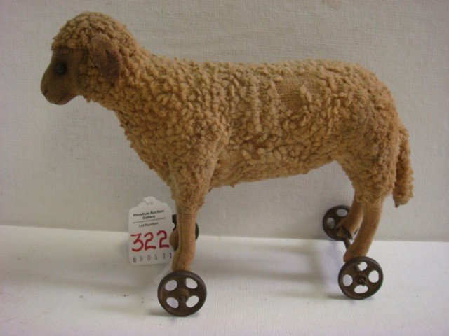 82: Vintage 1910 STEIFF Wooly Lamb Pull Toy: