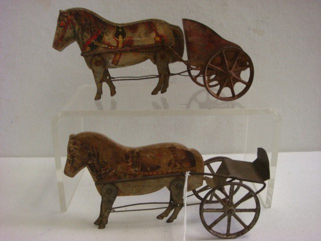 83: Two Toy GIBBS Wooden Horses Pulling Tin Carts: