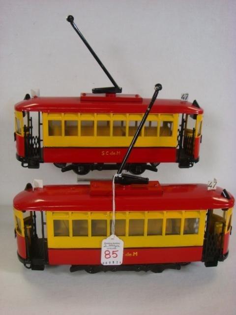 85: Pair of Metal S.C. de M Electrified Cable Cars: