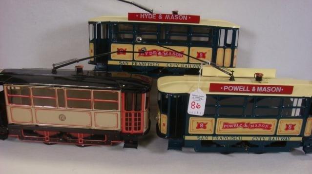 86: Three Electrified San Francisco Tin Cable Cars:
