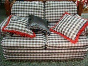 Double Cushion Custom Black Checked Love Seat: