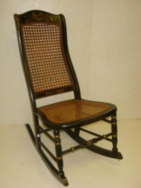 Cane Seat And Back Fruit Stenciled Rocking Chair: