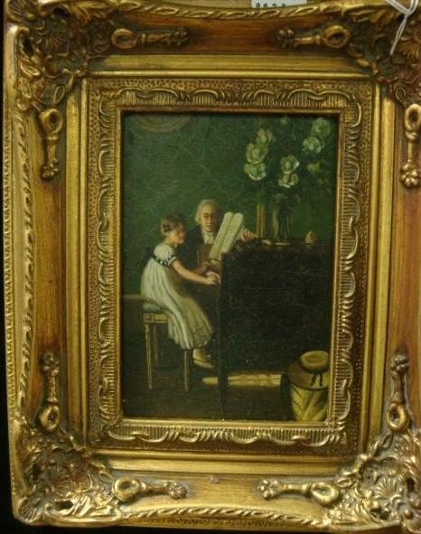 131: Oil on Board The Music Lesson in Ornate Gold Frame
